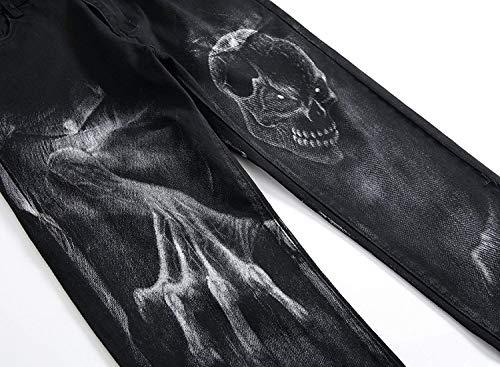 Pantalones Hombres Pantalones Ocasionales Clásico La De De Ocasionales Los Los Dril De Negro del Cintura del Chicos Impresión Cráneo Vaqueros Estiramiento Recta Algodón Vaqueros De De Pantalones La rvnaAZqrw0