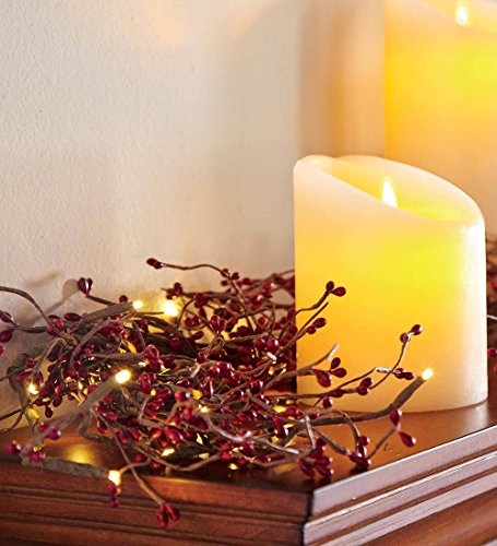 Battery Operated LED Lighted Artificial Pip Berry Holiday Garland, 72 in Long, Red Berries with Warm White Lights