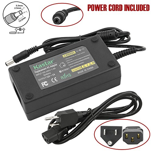 Kastar AC Adapter, Power Supply LCD 12V 5A 60W for Benq LCD Monitor FP2081 FP450 FP547 FP553 FP557 FP563 FP567 FP581 FP581 FP591 FP731, Dell S2440L S2440Lb LCD Monitor, 5050 3528 RGB LED strip (Ctx Power Adapter)