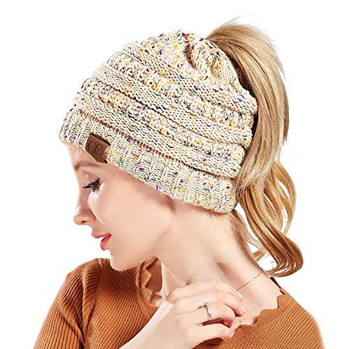 47a404bf79c Amazon.com  VAMEI Knit Messy Bun Hat Beanie (Beige)  Clothing