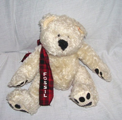 FOSSIL Cream Colored Teddy Bear Plush with SCARF 8