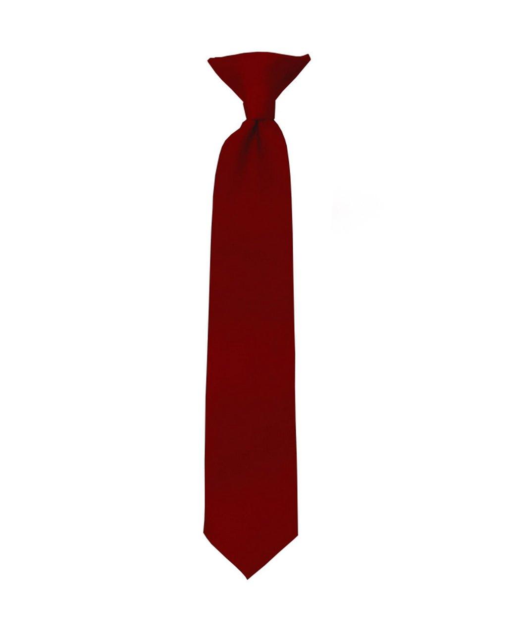 NYFASHION101 Boys' Kids' Children's Smooth Satin Solid Clip On Tie, Burgundy, 11''