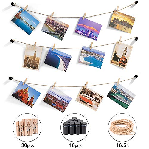 Hosom Unique Photos Hanging Display Wall Decor | 10pcs Standoffs Picture String Holder - 16.5ft Twine String Picture Hanger with 30pcs Photo Clips | Great Picture Display Kit