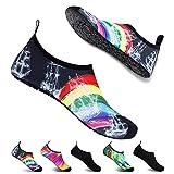 Water Shoes Men Women Barefoot Quick-Dry Aqua Shoes Swim Surfing Beach Shoes (8.5-9.5 M US Women / 7-8 M US Men, Rainbow)