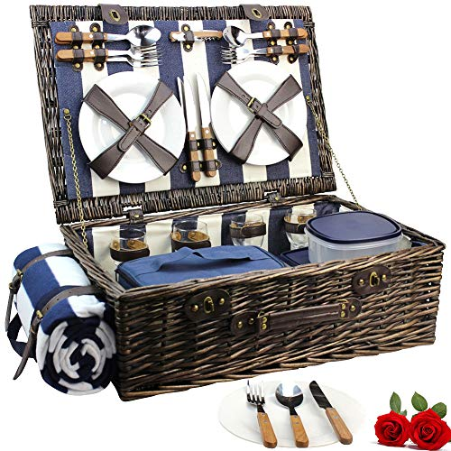 (HappyPicnic Extra Large Willow Picnic Basket with Service Set for 4 Persons, Natural Wicker Picnic Hamper with Free Food Cooler, Fleece Blanket and Tableware - Best Gift for Mothers Day)