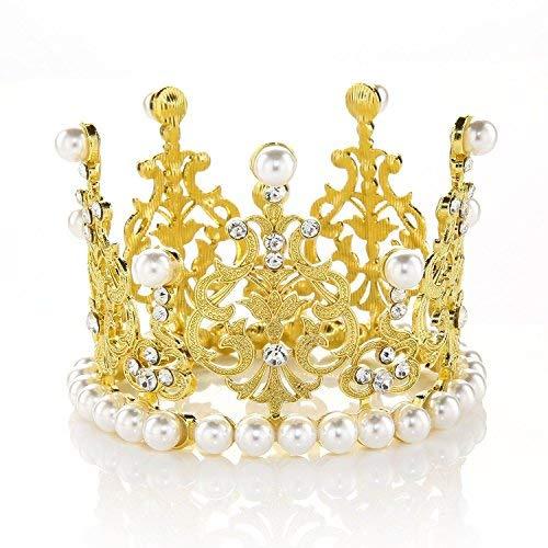 JANOU Tiara de corona para decoración de tartas con perlas de vidrio para niños, adornos para el pelo para boda,...