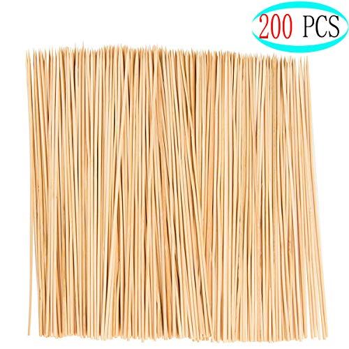 Bangbuy 200 Pcs Natural Bamboo Skewer Sticks, 11.8 Inch Natural Bamboo Skewers for Grill, BBQ, Chocolate Fountain, Appetiser, Marshmallow Roasting or Fruit Sticks (4 mm) ()