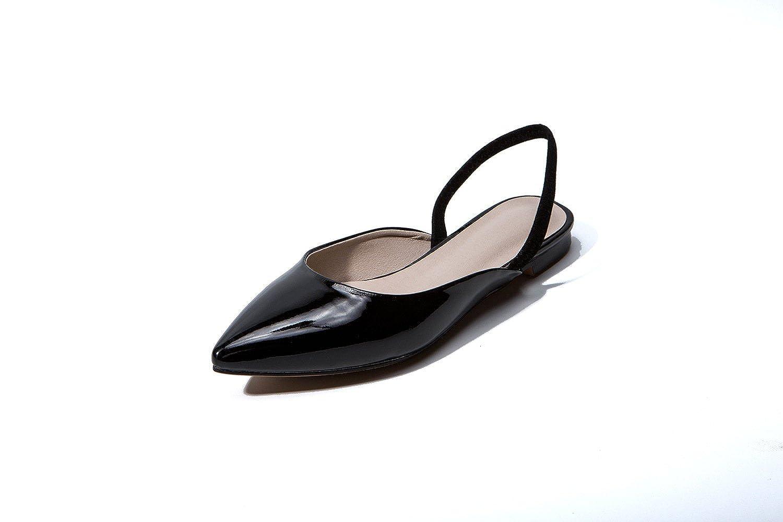Unbekannt Damen Sandalen Flachbild Baotou Gummizug Rücktaste Hingewiesen Schwarz 42