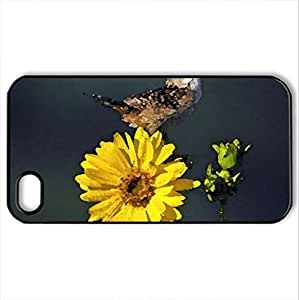 Bird on Flower - Case Cover for iPhone 4 and 4s (Birds Series, Watercolor style, Black)