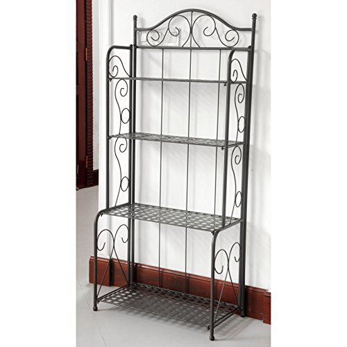 International Caravan 523767-OG-145553-O-783298 Bakers Rack, Antique - Rack Wrought Iron Plant