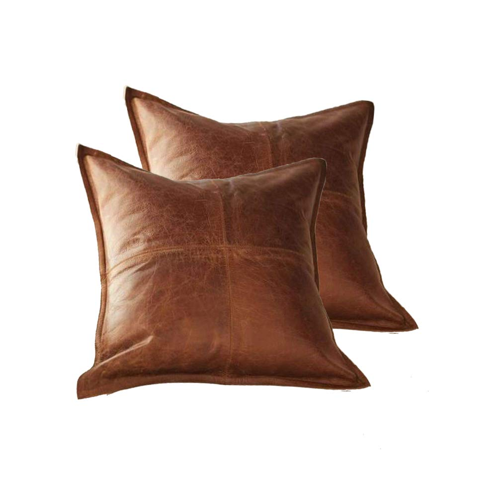 Sofa Cushion Case 16 x 16 Inches Pack of 1 Box Tan Antique Prim Leather 100/% Lambskin Leather Pillow Cover Decorative Throw Covers for Living Room /& Bedroom
