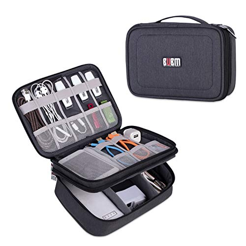 BUBM Electronic Organizer, Double Layer Travel Gadget Storage Bag for Cables, Cord, USB Flash Drive, Power Bank and More-a Sleeve Pouch for 7.9 iPad Mini(Medium,Black)
