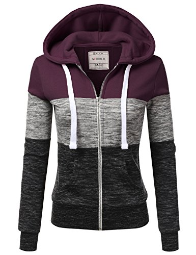 Doublju Lightweight Thin Zip-Up Hoodie Jacket for Women with Plus Size Plum 2X ()