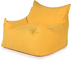 FBKPHSS Gaming Beanbag Chair Cover, with EPP Filler Comfortable Beanbag Covers Lazy Lounger Bean Bag Storage Chair Cover for Adults and Kids Easy to Clean,Yellow,EPP