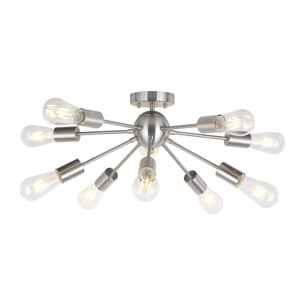 BONLICHT 10-Light Sputnik Chandelier Brushed Nickel Flush Mount Ceiling Light Modern Pendant Lighting for Kitchen Living Room Dining Room Bed Room Hallway