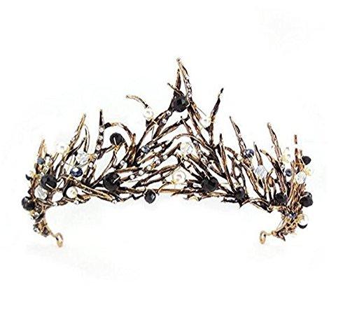 (Lefox Antique Brass Leaves Black Crystal Adult Tiara Crown(#35))