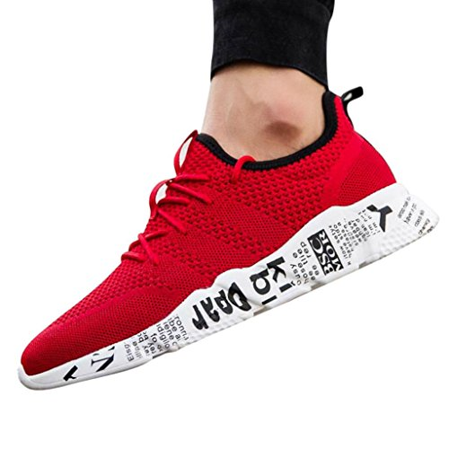 Men Running Sneakers,Hemlock Lace up Sports Shoes Flats Sandals Breathable Athletic Shoes (US:10, Red)