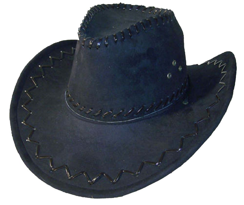 Deluxe Black Simulated Suede Leather Men or Womens Western Style Cowboy / Cowgirl Hat