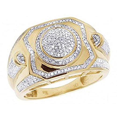 - Men's 14K Yellow Gold Over 925 Sterling Silver D/VVS1 Diamond Designer Pinky Ring 1/2 CT