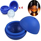 Beyonta Set of 4 Ice Ball Maker Molds, Silicone Ice Mold for Star Wars Lovers or Party Theme, Blue