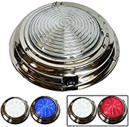 """Wave One Marine   7"""" LED Boat DUAL Color Dome Light 12V RV   Stainless Housing   Toggle S"""