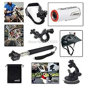 Kit 5en1 ARBUYSHOP coche / moto / Monopod / montaje del casco para Polaroid XS100 XS80 Acción para Sony HDR-Acción Cam AS15 AS20 AS100V AS30V