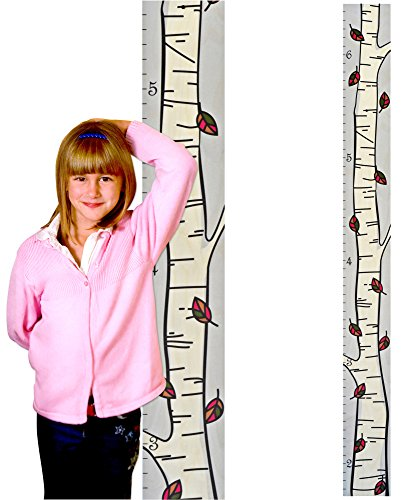 "Birthday Chart 1st Growth (Growth Chart Art | Hanging Wooden Height Growth Chart to Measure Baby, Child, Grandchild - Autumn Birch Tree Art with Fall Color Leaves - Wall Decoration for Girls and Boys - 58""x5.75"")"
