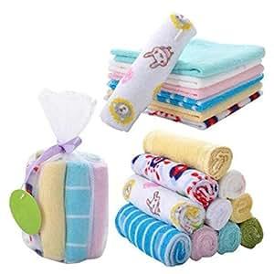 NUOLUX 8pcs Soft Cotton Newborn Baby Face Towel and Muslin Washcloth Bath Shower Wipe (Random Color)