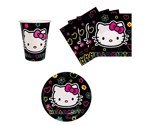 Hello Kitty Tween Birthday Party Supplies Set Plates Napkins Cups Kit for 8 -