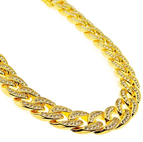Mens Choker 18k Gold Plated Cuban Link Chain Chunky Heavy Alloy Full Stone 16
