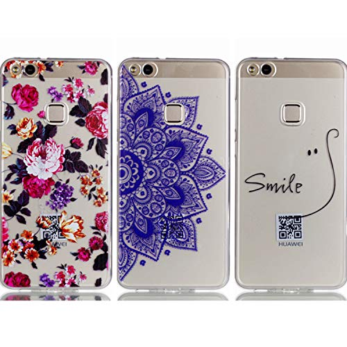 - Huawei P10 Lite Case - 3 Pcs Shock-Absorption TPU Rubber Skin Bumper Case Transparent Crystal Clear Cute Colorful Print Patterns Ultra Slim Protective Cover by AIIYG DS - Floral