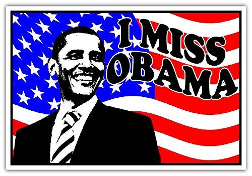 Impeach Obama Bumper Sticker (I Miss Obama American Flag Democratic President Vinyl Bumper Sticker Decal 3