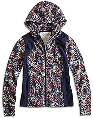 Women's Floral Garden Print Full Zip Cotton Interlock Hoodie Sweatshirt
