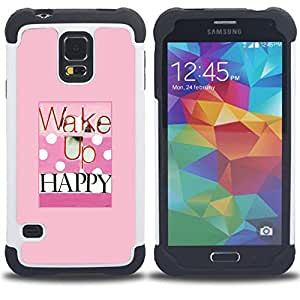 For Samsung Galaxy S5 I9600 G9009 G9008V - wake up happy health pink polka dot quote Dual Layer caso de Shell HUELGA Impacto pata de cabra con im??genes gr??ficas Steam - Funny Shop -