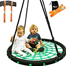 """Tree Swing + Hanging Strap Kit - XL 40"""" Round Outdoor Swing for Kids Extra Thick Rope. Super Strong Nest Swing Holds 600 lbs - Swing Kit Includes Two Tree Swing Strap + Carabiners"""