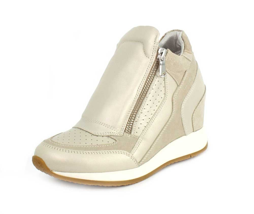 Geox Womens Nydame Sneaker B07B51D25Z 39 M EU|Platinum/Light Taupe