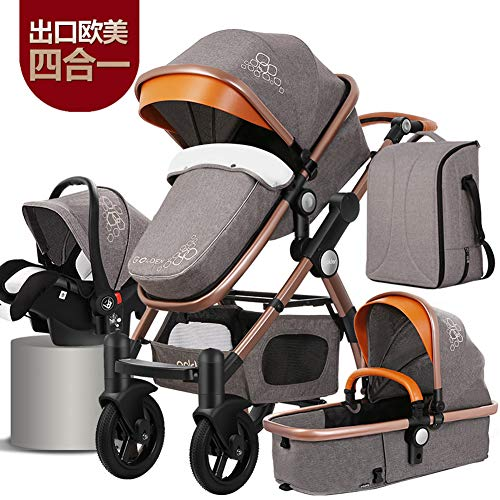 Infant Pram Baby Stroller 3 in 1 with car seat Travel System Newborn seat Stroller Toddler Seat Combo Mummy Bag and Baby Diaper Bag -Grey