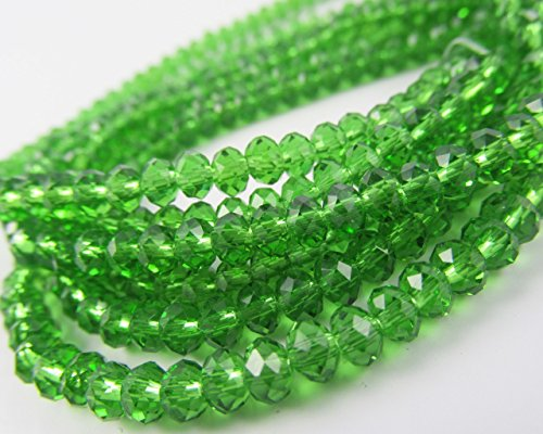 - BeadsOne 6mm - 100 pcs - Glass Rondelle Faceted Beads Emerald Green for jewerly making findings handmade jewerly briolette loose beads spacer donut faceted Top Quality 5040 (C21)