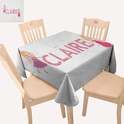 Claire Table Cover Pastel Toned Colorful Arrangement of Fairy Tale Elements with Magic Wands and Wings Summer Table Cloths Multicolor W 36