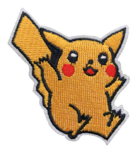 Pikachu in Pokemon Embroidered Iron On / Sew On Patch