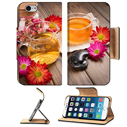 MSD Premium Apple iPhone 6 iPhone 6S Flip Pu Leather Wallet Case hot tea flowers and spa stone on wood plank Image ID 27205655