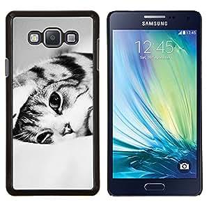 Lindo Gatito Gato Negro Blanco Pelo Corto- Metal de aluminio y de plástico duro Caja del teléfono - Negro - Samsung Galaxy A7 / SM-A700