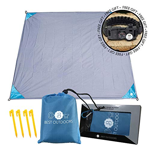 Best Outdoors Compact Outdoor Blanket, Outdoor Pocket Blanket, Waterproof, Sand Proof, Complete Kit, Fits 3 to 5 People, Tear Free Nylon, Free Survival Bracelet, for Travelers