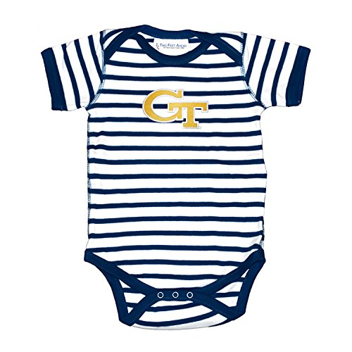 Two Feet Ahead Georgia Tech Yellow Jackets Striped NCAA College Newborn Infant Baby Creeper (6 Months)