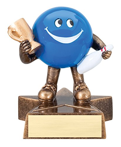 Adult Get Real Bowling Ball Costumes (Bowling Lil' Buddy Trophy - Customize Now - Personalized Engraved Plate Included & Attached to Award - Perfect Bowling Trophy - Hand Painted Design)