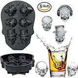 Image of 3D Skull Ice Mold,Six Giant Skull Silicone Mold,Funny Ice Maker Cool Drink Whiskey Wine Cocktail