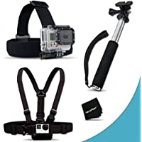 Xtech® Replacement Head Strap mount Kit for GoPro HERO4 Hero 4, GoPro Hero3+, GoPro Hero3, GoPro Hero2, GoPro HD Motorsports HERO, GoPro Surf Hero, GoPro Hero Naked, GoPro Hero 960, GoPro Hero HD 1080p, GoPro Hero2 Outdoor Edition Digital Cameras + Chest Strap Mount + Hand Held Extendable Monopod
