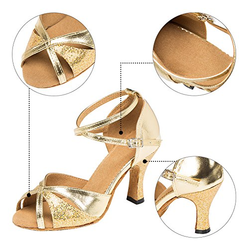 Haodasi New Women Satin Ballroom Latin Salsa Square Dance Anti-Skid Soft Dancing Shoes Copper 8cm UceWy2oWST