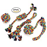 EADE Rope Dog Toy, Puppy Chew Toys Set, Rope Ball, Cotton Knot, Dog Interactive Toy, Beneficial to Dog's Mental Health, Dental Health, and Teeth Cleaning, Best Gift for Small/Medium Dogs (4 Pcs)