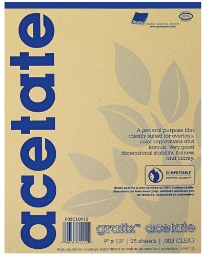 Grafix 9 x 12 Inches Biodegradable Clear Acetate 25 Sheets 5CL0912